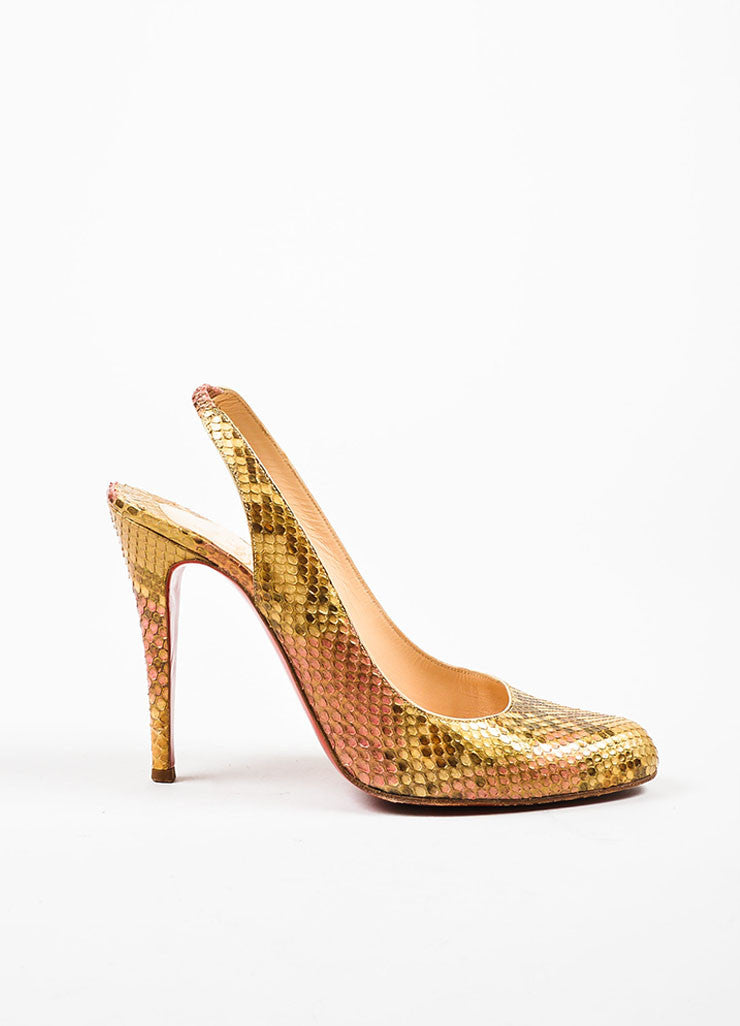 "Metallic Multicolor Python Christian Louboutin ""O My Sling"" Pumps Sideview"