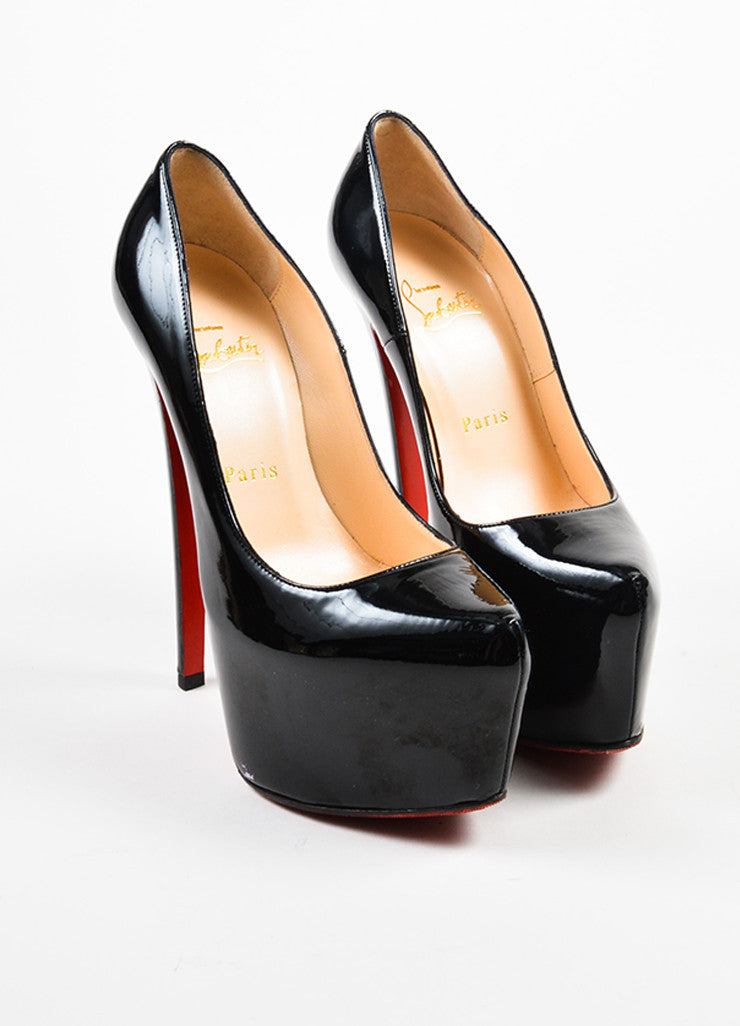 "Christian Louboutin Black Patent Leather Platform ""Daffodile"" Pumps Frontview"