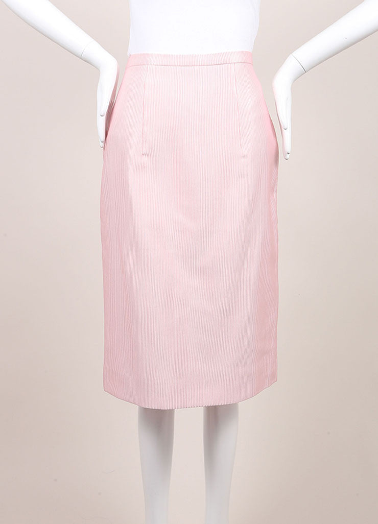 Christopher Kane New With Tags Pink Cotton Blend Ribbed Pencil Skirt Frontview