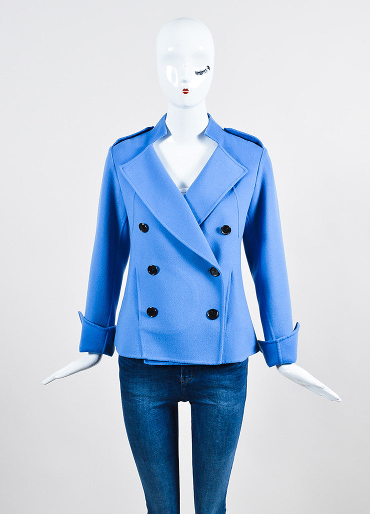 """Lake"" Blue Derek Lam Wool and Cashmere Double Breasted Short Coat Frontview 2"