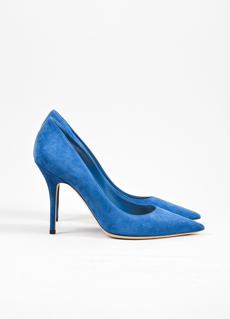 "Blue ""Petrole"" Christian Dior Suede Leather Pointed Toe Pumps Sideview"