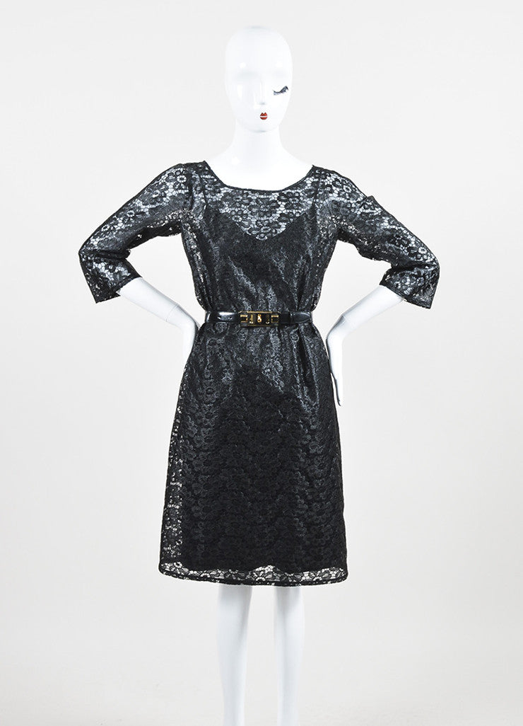 Dolce & Gabbana Black Floral Embroidered Lace Belted Shift Dress Frontview