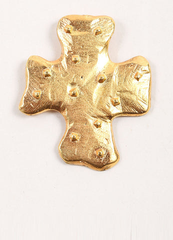 Edouard Rambaud Gold Toned Studded Cross Brooch Frontview