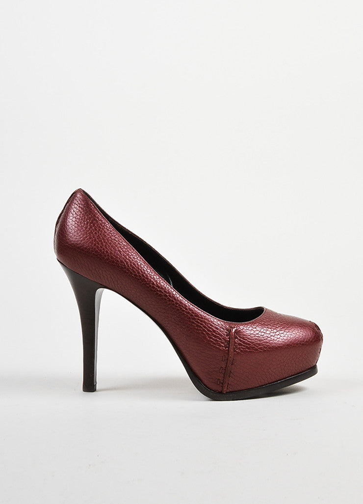 Fendi Maroon Pebbled Leather Platform Pumps Sideview