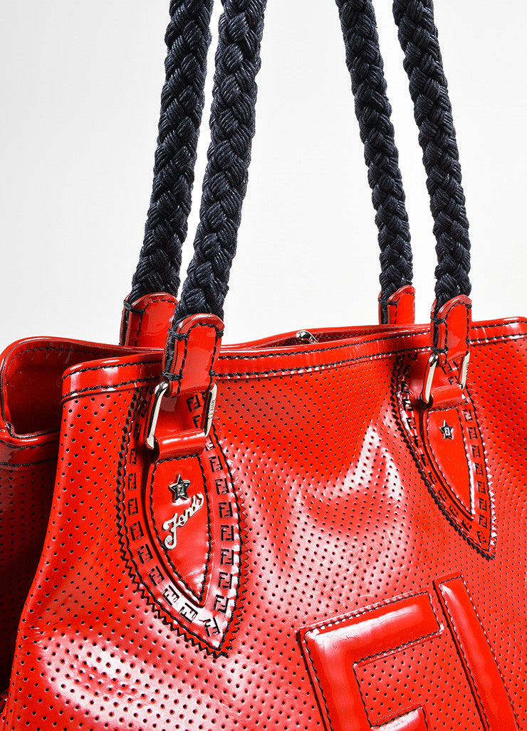 "Red and Black Fendi Patent Leather Woven Top Handle Perforated ""Bag De Jour"" Tote Bag Detail 2"