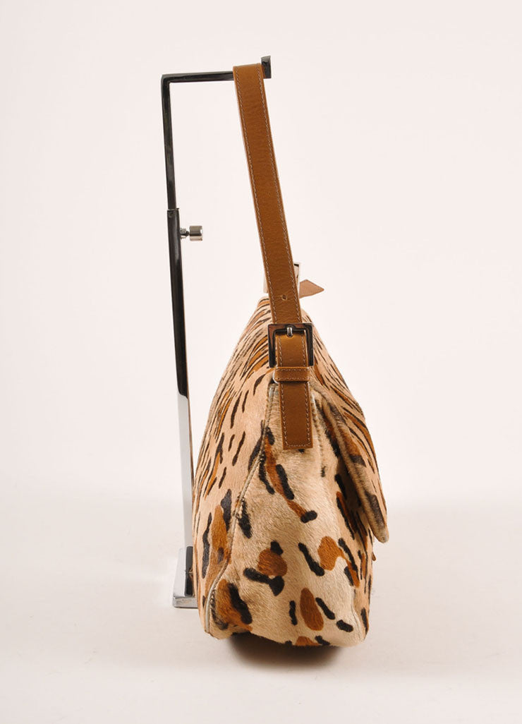 "Fendi Tan and Brown Leopard Print Pony Hair ""FF"" Flap Shoulder Bag Sideview"