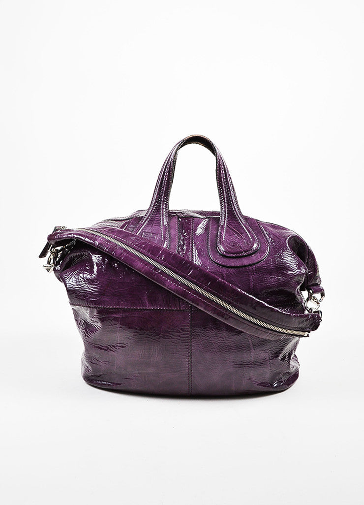 "Givenchy Eggplant Crinkled Patent Leather ""Nightingale"" Satchel Bag Frontview"