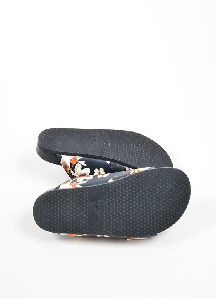 Multicolor Givenchy Flower and Moth Print Buckle Flat Slide Sandals Outsoles