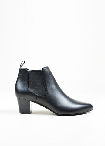 "Black Gucci Leather Pointed Toe Stacked Heel Ankle ""Helene"" Boots Side"