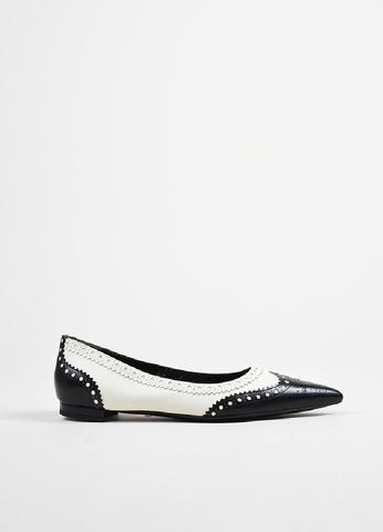 "Black and White Gucci Leather ""Gia"" Pointed Toe Brogue Flats Sideview"