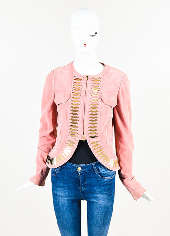 Pink and Gold Toned Gucci Suede Mirror Paillette Scale Zip Jacket Front 2