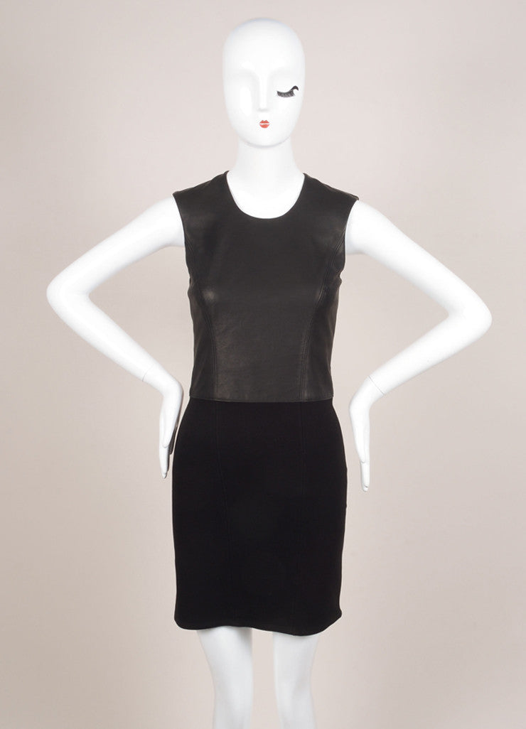 HELMUT Helmut Lang New With Tags Black Leather Knit Contrast Sleeveless Dress Frontview