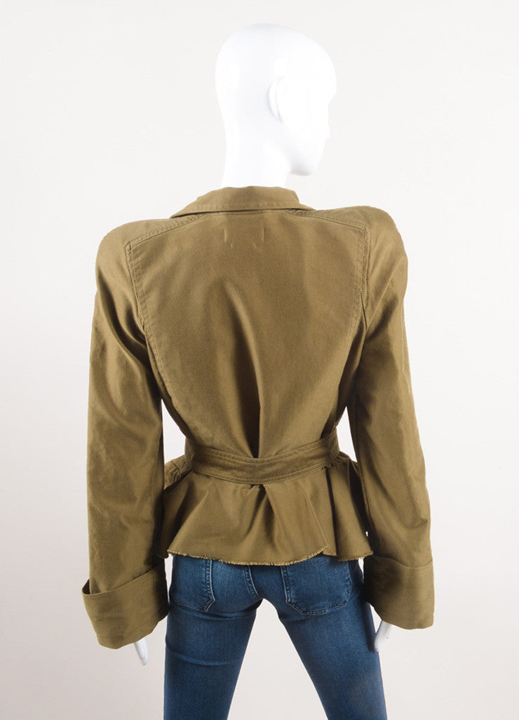 "Isabel Marant New With Tags Army Green Cotton Peplum Military ""Janey"" Jacket Backview"