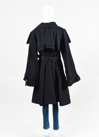 Jean Paul Gaultier Femme Black Wool Blend Belted Cape Coat Backview