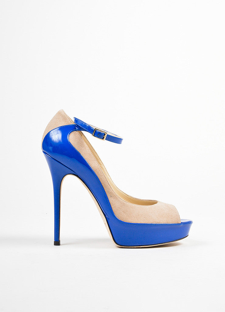 "Blue and Tan Jimmy Choo Suede Patent Color Block Peep Toe ""Tami"" Pumps Sideview"