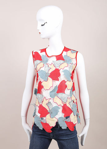 "Jonathan Saunders New With Tags Red and Blue Embroidered Flower ""Clement"" Top  Frontview"