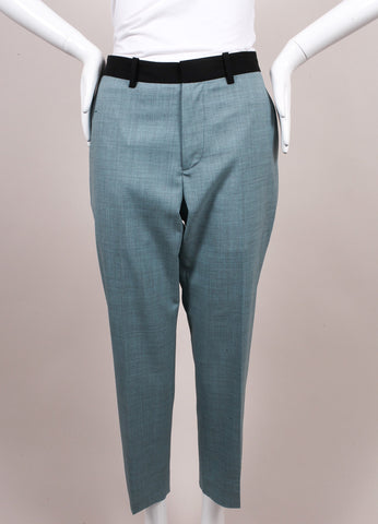 "Jonathan Saunders New With Tags Blue and Black Wool ""Francine"" Ankle Trousers Frontview"