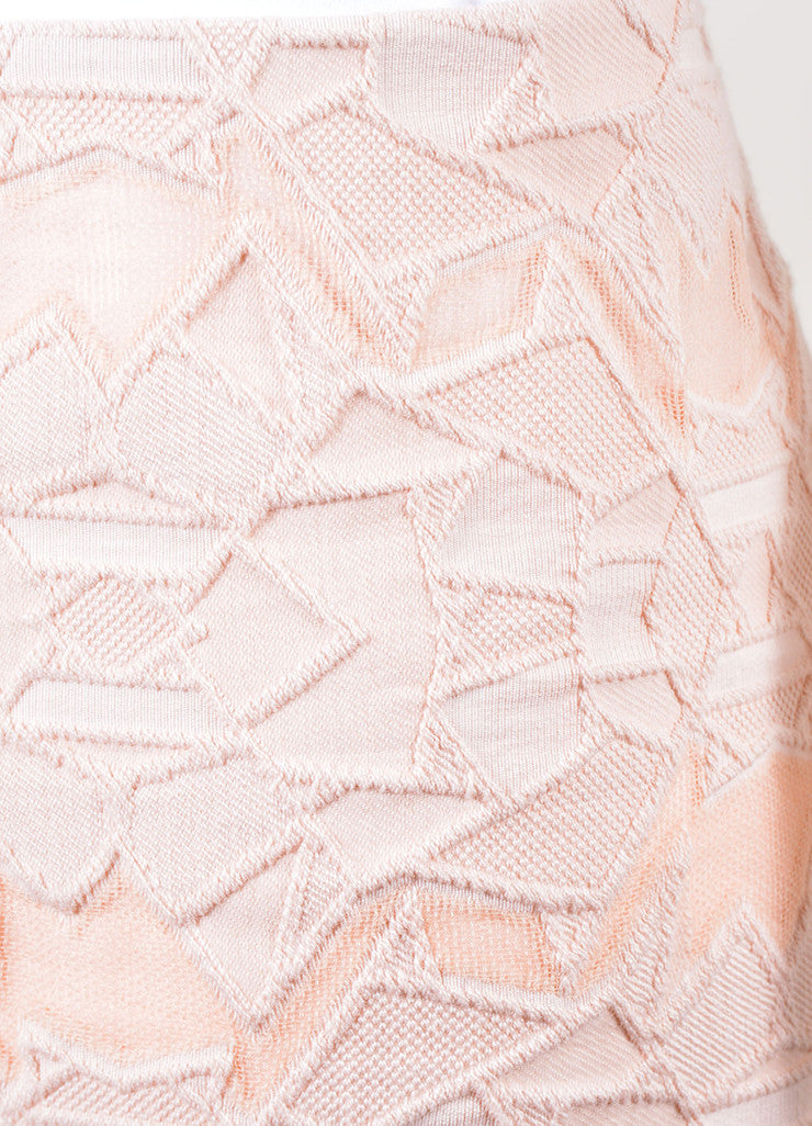 Jonathan Simkhai Pink Geometric Lace and Mesh Pencil Skirt Detail