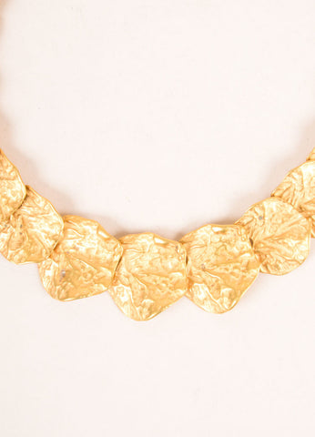 Kenneth Jay Lane Gold Toned Leaf Link Necklace Detail