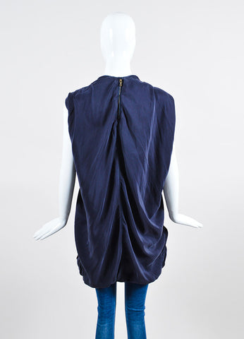 Navy Lanvin Silk Bronze Toned Hardware Lace Up Oversized Tunic Backview