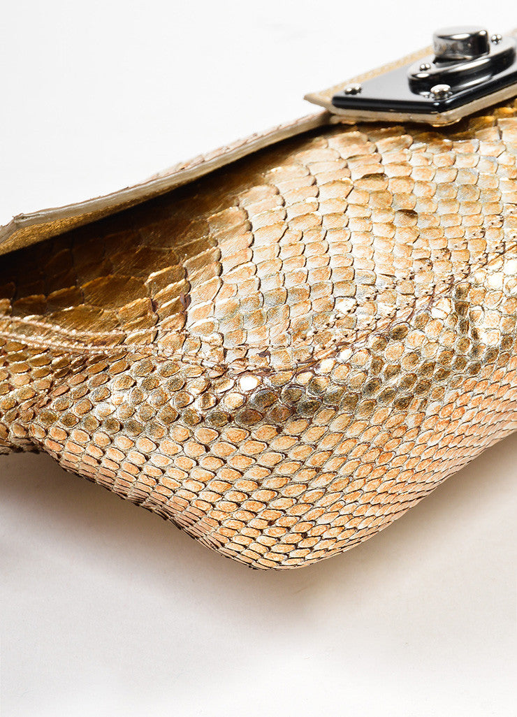 Lanvin Gold and Silver Metallic Python Leather Ring Handle Clutch Bag Detail