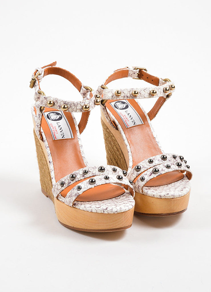 Lanvin White and Grey Snakeskin Wood Raffia Studded Wedge Sandals Frontview