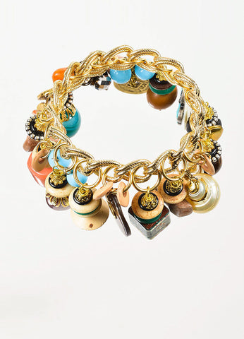 Gold Toned and Multicolor Lawrence Vrba Capricorn Charm Chain Bangle Bracelet Topview