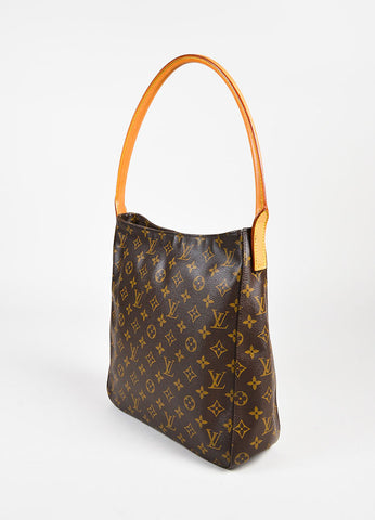 "Louis Vuitton Brown and Tan Coated Canvas & Leather ""Looping"" GM Bag Sideview"