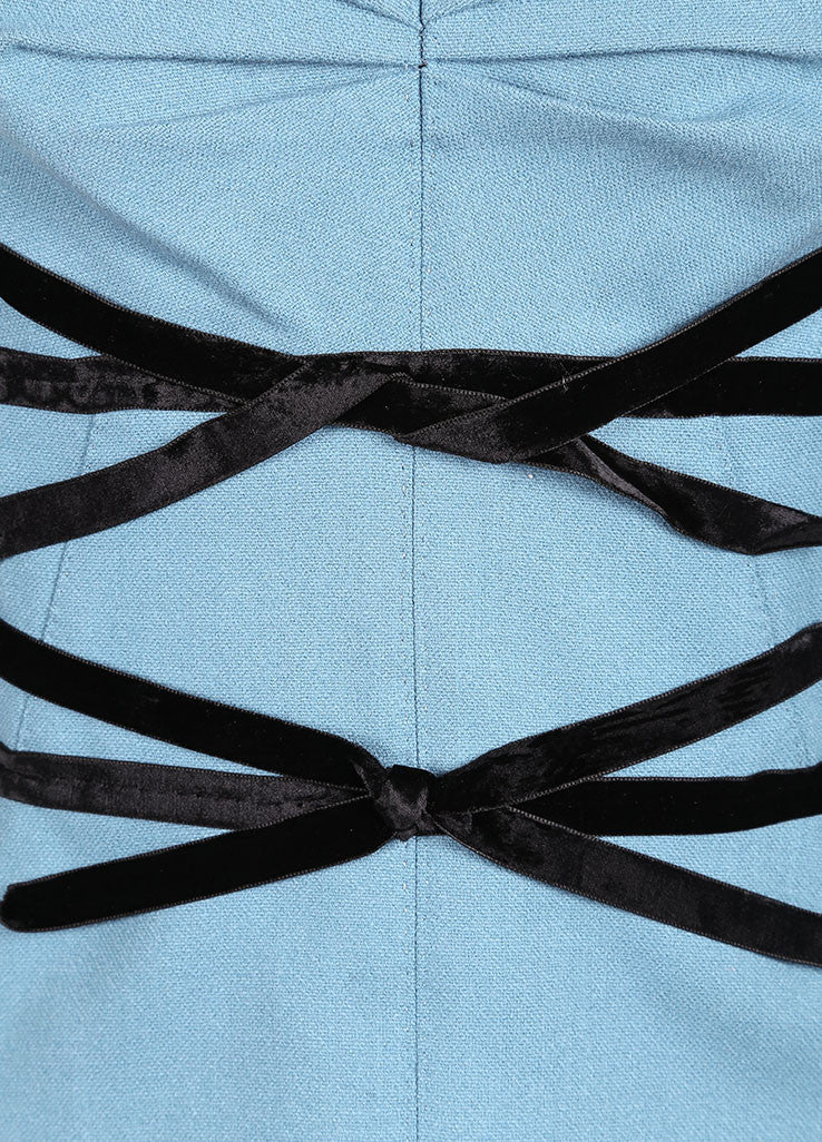 Louis Vuitton Blue and Black Wool and Velvet Bow Cropped Bustier Detail