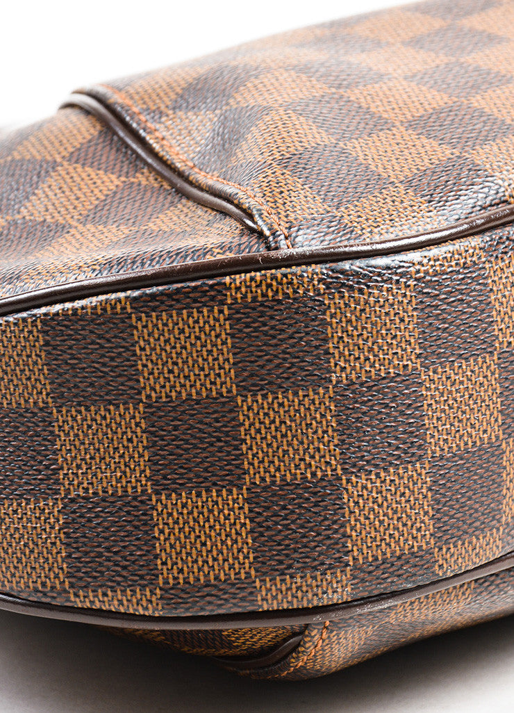 "Louis Vuitton Brown Damier Ebene Canvas ""Thames GM"" Hobo Shoulder Bag Detail"