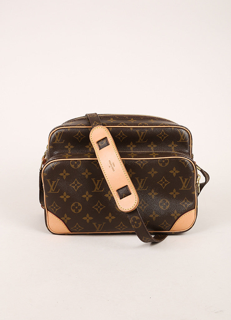 "Louis Vuitton Brown Monogram Canvas Structured ""Nil"" Crossbody Bag Frontview"