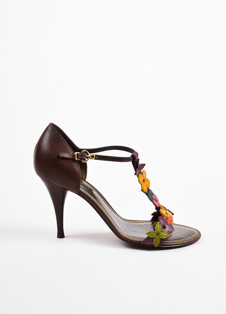Louis Vuitton Brown Multicolor Leather Flower Sandal Heels Side