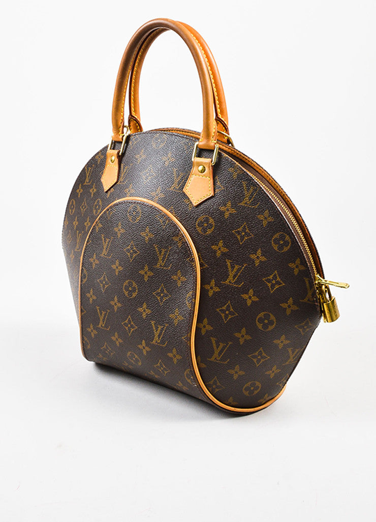 "Louis Vuitton Brown and Tan Coated Canvas and Leather Monogram ""Ellipse MM"" Bowler Bag Sideview"