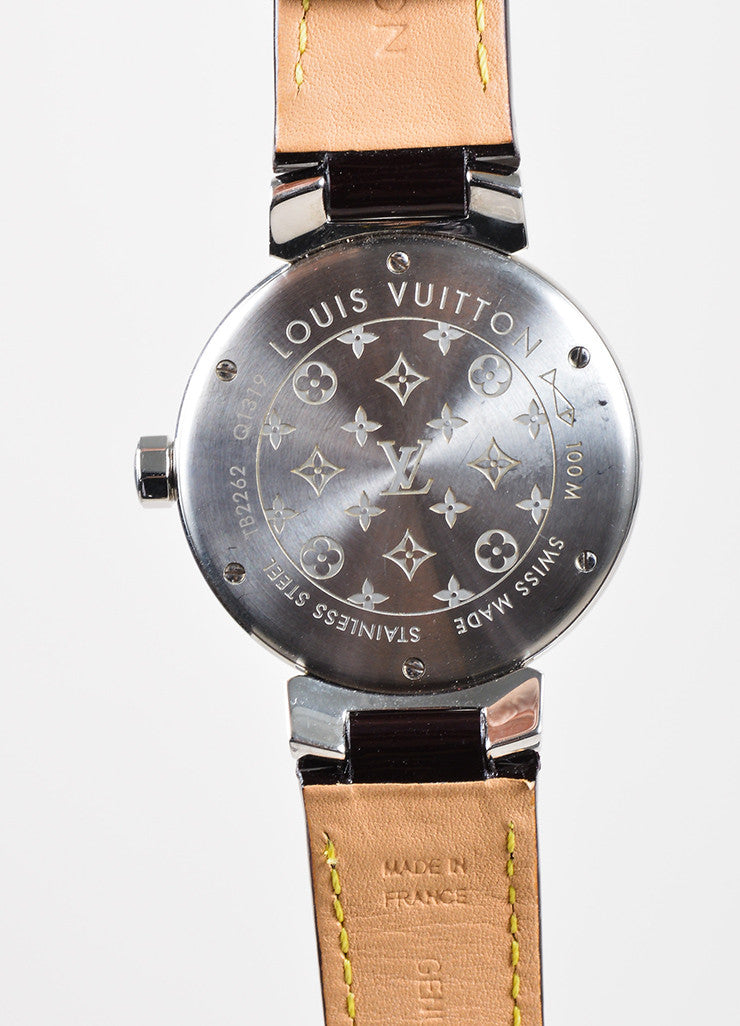 "Stainless Steel and Maroon Monogram Leather Louis Vuitton ""Tambour Disc 34mm"" Watch Brand"