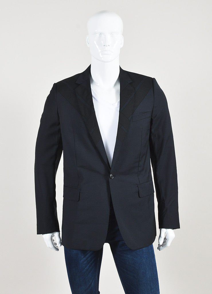 Men's Dolce & Gabbana Navy Blue Black Wool Geometric Panel Jacket Front 2
