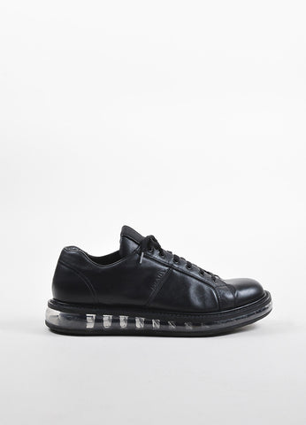 Men's Prada Black Leather Transparent Platform Lace Up Creeper Sneakers Sideview