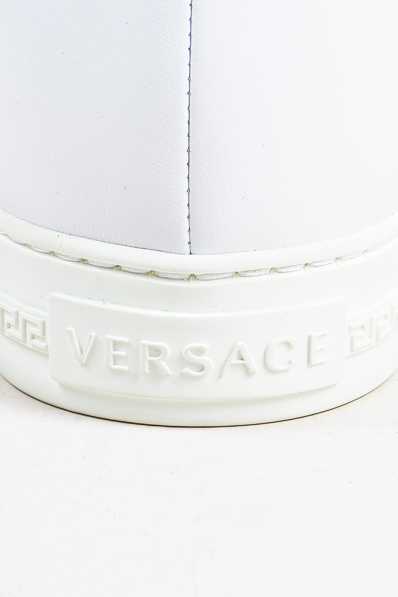 "Men's Versace White Leather Gold Toned Medusa ""Palazzo Idol"" Sneakers Brand"