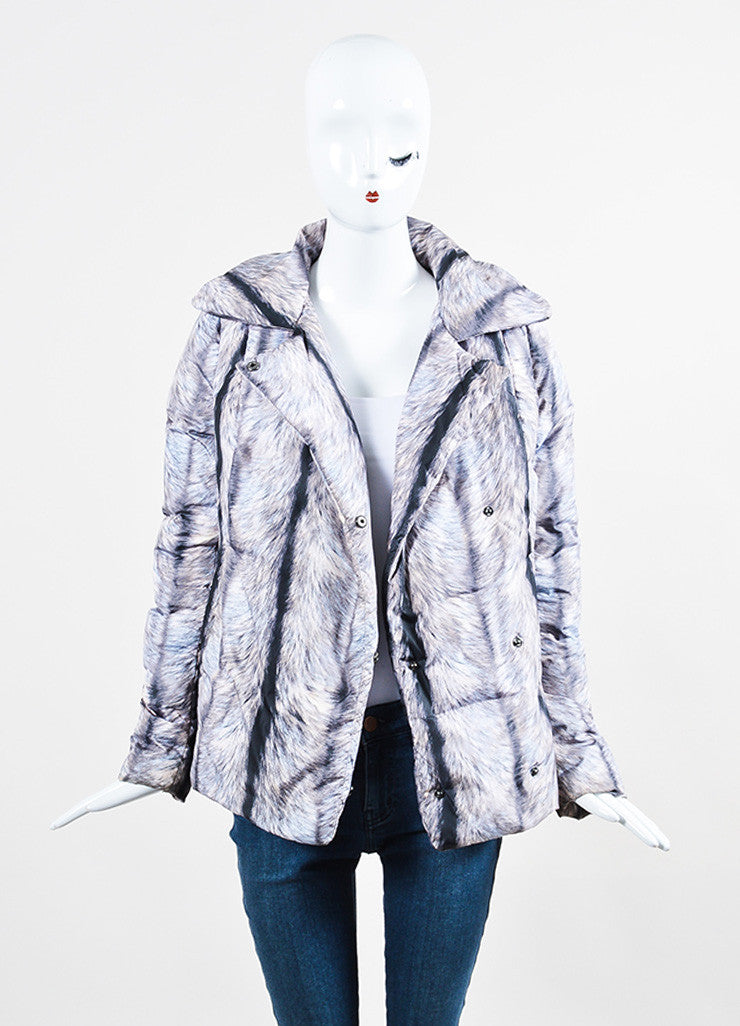 MM6 Maison Martin Margiela Grey and Black Fur Double Breasted Down Puffer Coat Frontview