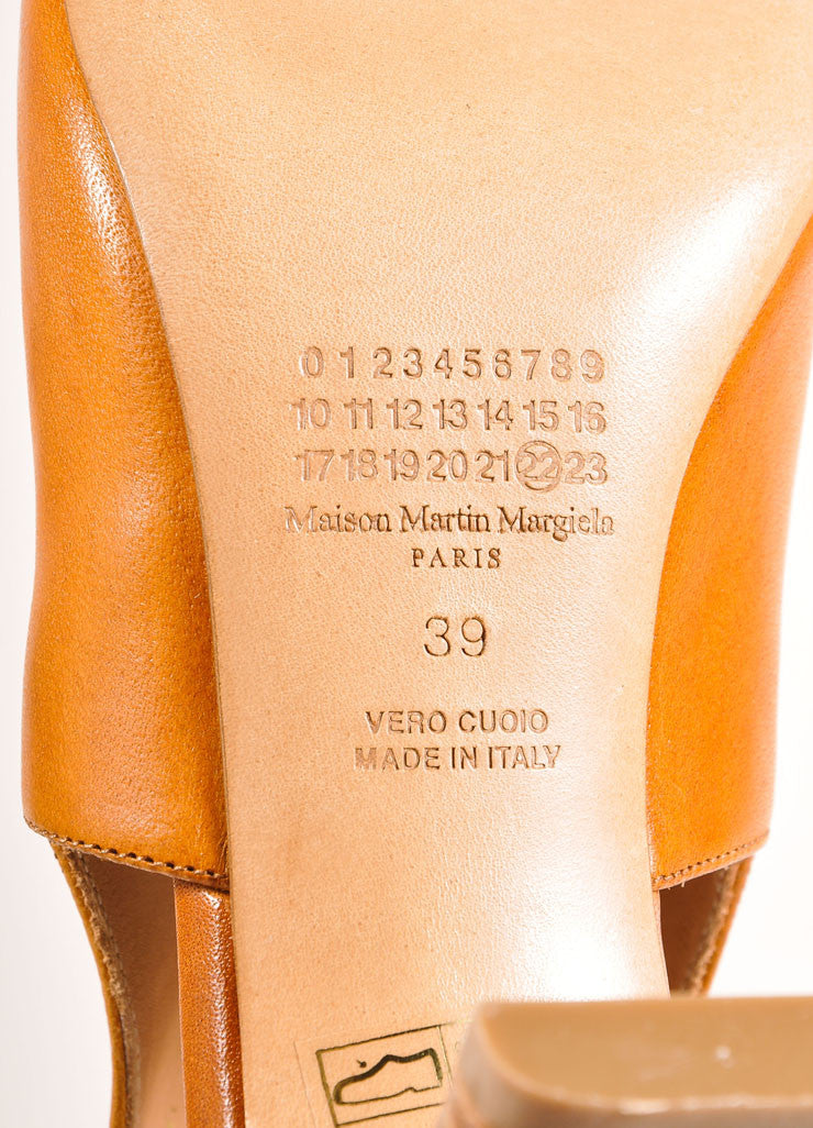 Maison Martin Margiela New In Box Cognac Leather Cut Out Booties Brand