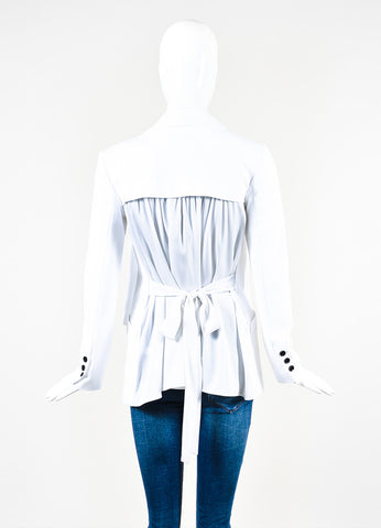 "Marissa Webb White Cotton and Silk Pleated Back ""Brunella"" Jacket Backview"