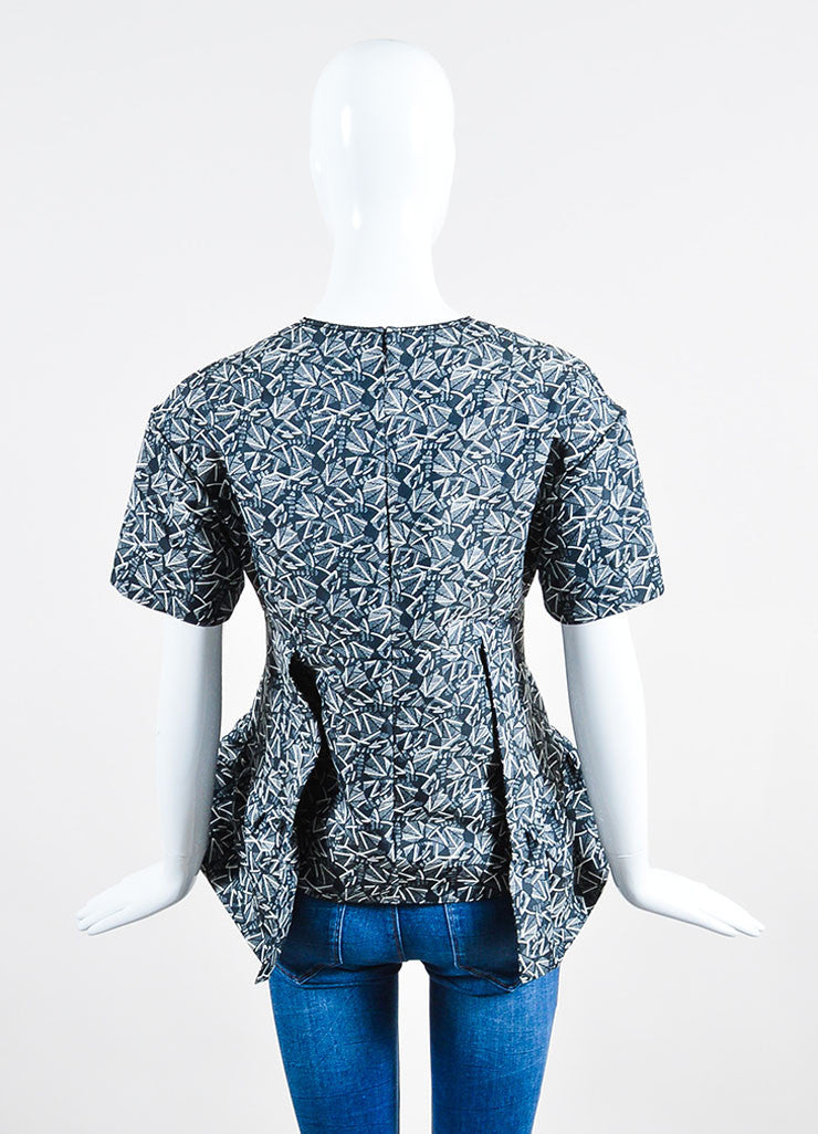 Blue, Grey, and White Marni Geometric Print Pleated Short Sleeve Top Backview