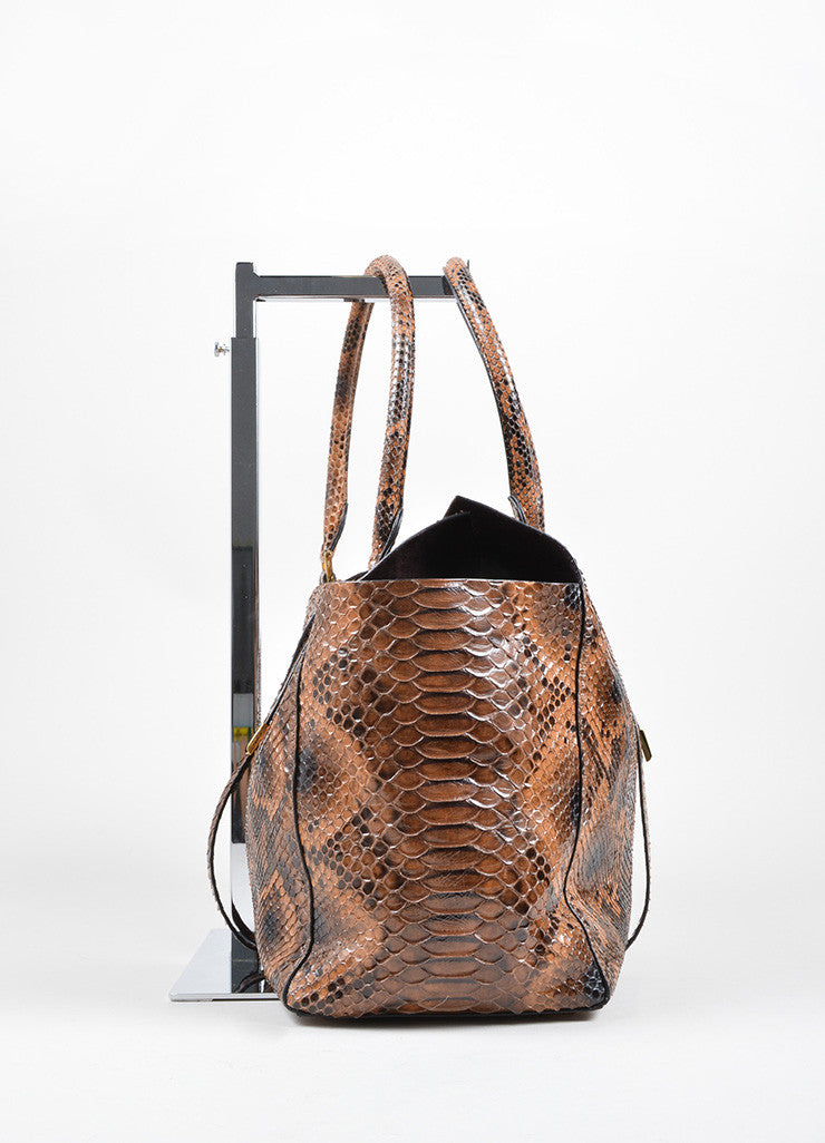 "Michael Kors Brown Python Leather ""Miranda"" Tote Bag Sideview"