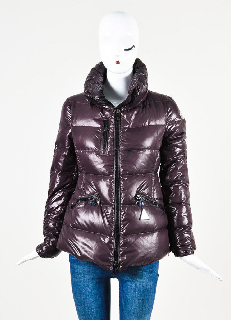 "Moncler Eggplant Purple Quilted Puffer Down Hooded ""Clairy"" Jacket frontview 2"