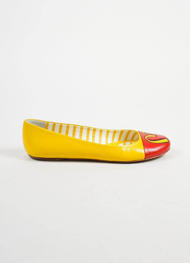 Yellow and Red Leather Moschino Fast Food Cap Toe Flats Sideview