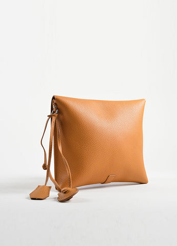 Nagatani Brown Pebbled Leather Square Clutch Bag Backview