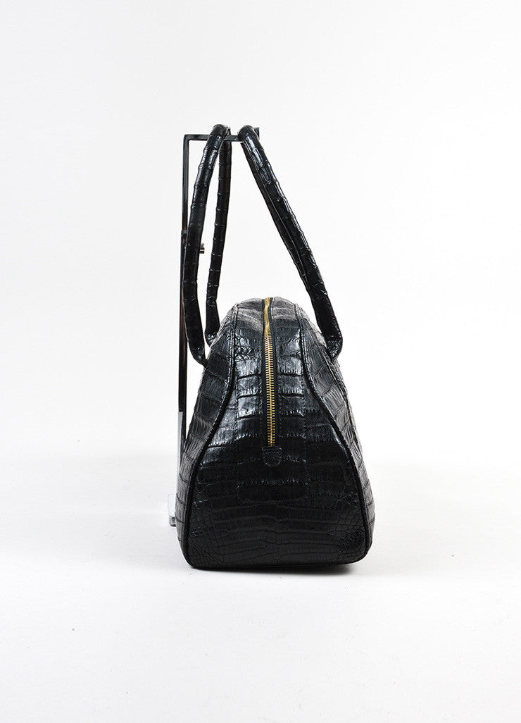 Black Nancy Gonzalez Crocodile Medium Bowler Satchel Bag Sideview