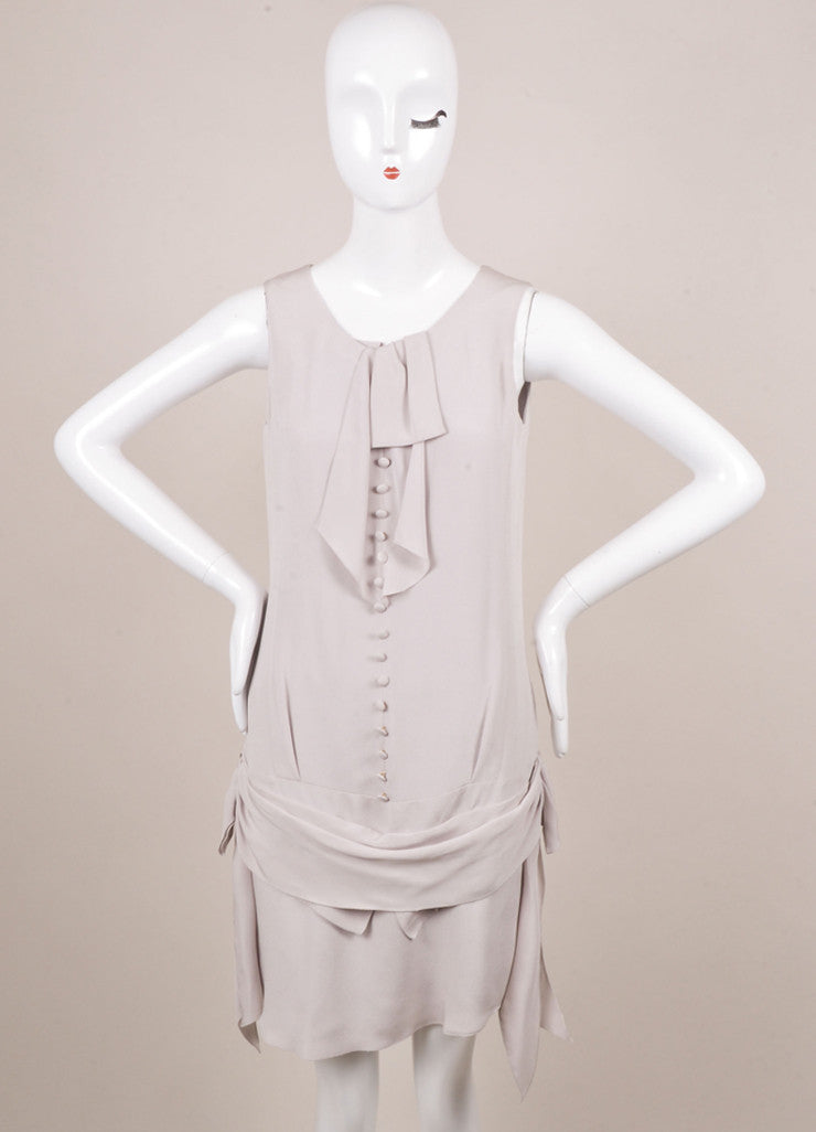 Nina Ricci Grey Draped Button Detail Sleeveless Dress Frontview