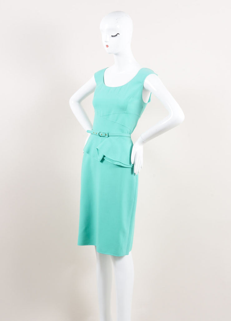 Oscar de la Renta New With Tags Turquoise Wool Peplum Belted Sleeveless Sheath Dress Sideview