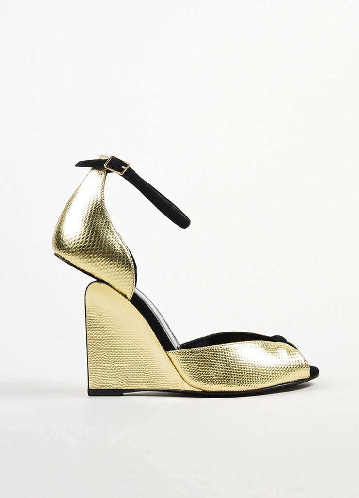 "Gold Metallic and Black Pierre Hardy ""Amanda"" Cut Out Wedge Heels Sideview"