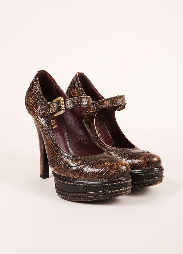 Prada Brown Lizard Embossed Leather Platform Mary Jane Pumps Frontview